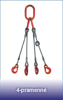 4-pramenné úvazky z ocelových lan