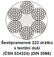 Ocelové lano průměr 9 mm, 6x37 M-SFC U 1770 sZ (ČSN024324)
