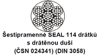 Ocelové lano průměr 16 mm, 6x19 S-IWRC U 1770 sZ (ČSN024322)