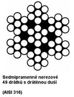 Ocelové lano nerezové průměr 6 mm, 7x7 AISI 316