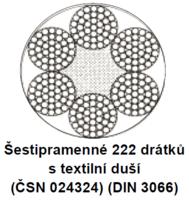 Ocelové lano průměr 8 mm, 6x37 M-SFC U 1770 sZ (ČSN024324)