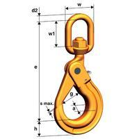 Vyklápěcí bezpečnostní hák s otočnou hlavou WLHBW průměr 6 mm, třída 10
