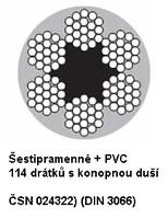 Ocelové lano průměr 6/8 mm, 6x19 FC B 1770 sZ + PVC červené (ČSN024322)