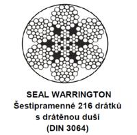Ocelové lano průměr 8 mm, 6x36 SW-FC B 1960 sZ