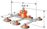 Vakuový manipulátor VMS 1 200 kg, 6 přísavek