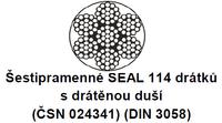 Ocelové lano průměr 14 mm, 6x19 S-IWRC B 1770 sZ (ČSN024322)