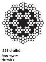 Ocelové lano průměr 14 mm, Herkules 221 drátků, B 1770 sZ