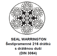 Ocelové lano průměr 22 mm, 6x36 SW-IWRC B 1770 sZ