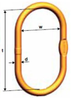 Speciální zvětšené závěsné oko šíře 250mm VSAW pro 1-pramenné úvazky, řetěz 26, třída 10