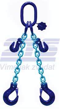 2-hák řetězový průměr 10 mm, délka 1,5m, zkracovací háky, třída 10 GAPA