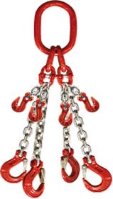 4-hák řetězový průměr 13 mm, délka 3m, zkracovací háky, třída 8 GAPA