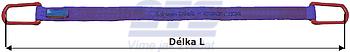 Plochý pas s kovovými oky, ochrana ŘEZ/ODĚR, 1t, 3m