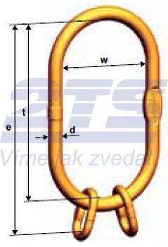Spec. zvětšené závěsné oko 250mm VSAW pro 2,3 a 4-pramenné úvazky řetěz 10,13/10, třída 10
