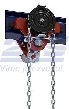 Jednonosníková kočka s ovládacím řetězem Z420-A, nosnost 5 t, délka zdvihu 3 m
