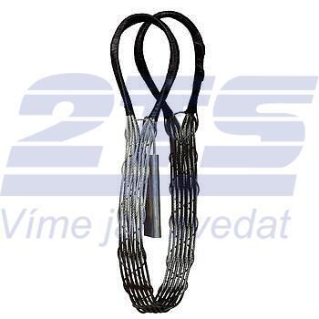 Ploché ocelové lano se zapleteným okem, typ 8701, 15t, 4,5m - 1