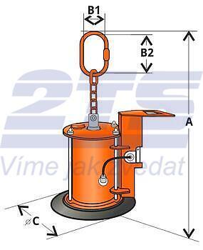 Vakuový manipulátor VMS 100 kg, 1 přísavka - ze silikonu do 150°C