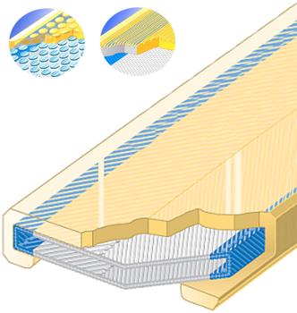 Polyuretanová ochrana jednostranná s broušeným povrchem a kovovou výztuhou SF1 šíře 90mm - 1