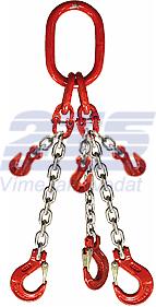 3-hák řetězový průměr 6 mm, délka 2 m, zkracovací háky, třída 8 GAPA