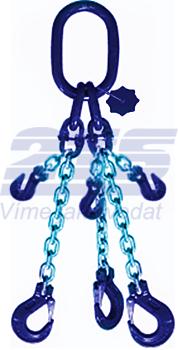 3-hák řetězový průměr 6 mm, délka 1,5 m, zkracovací háky, třída 10 GAPA