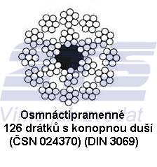 Ocelové lano průměr 8 mm, Herkules 126 drátků 18x7 FC B 1770 sZ