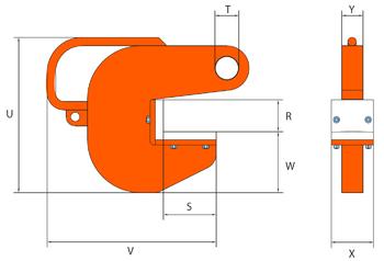 Horizontální svěrka PHW-HD 30 t, 60 mm - 1