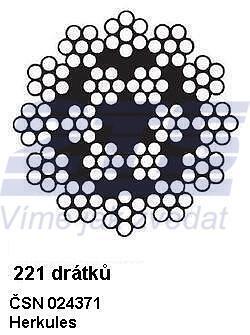 Ocelové lano průměr 8 mm, Herkules 221 drátků, B 1770 sZ