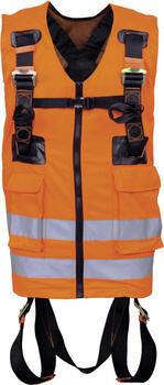 Bezpečnostní postroj s reflexní pracovní vestou, 2 připojovacími body a zádový D kroužkem