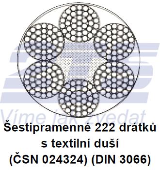 Ocelové lano průměr 44 mm, 6x37 M-SFC U 1770 sZ
