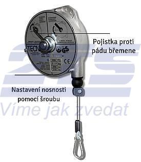 Balancér 9320 (Tecna), nosnost: 1 - 2,5 kg, 2000 mm - 1