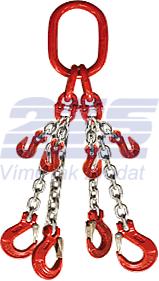 4-hák řetězový průměr 8 mm, délka 4,5 m, zkracovací háky, třída 8 GAPA