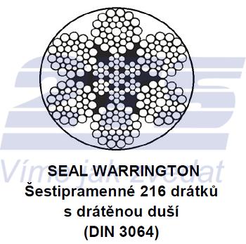 Ocelové lano průměr 24 mm, 6x36 SW-IWRC B 1960 sZ