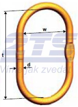 Speciální zvětšené závěsné oko šíře 250mm VSAW pro 1-pramenné úvazky, řetěz 19, třída 10