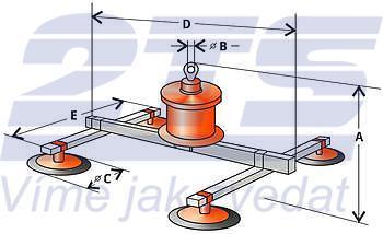 Vakuový manipulátor VMS 1 200 kg, 4 přísavky