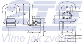 Šroubovací otočný a sklopný bod ASWHSX M12x23, nosnost 1 000 kg - 2