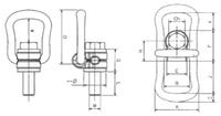 Šroubovací otočný a sklopný bod ASWHSX M12x23, nosnost 1 000 kg - 2/3