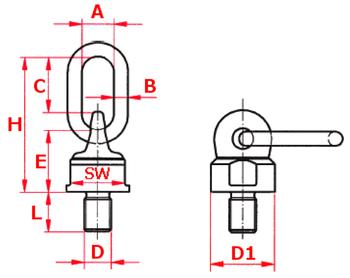 Šroubovací otočný a sklopný bod ASWH M12x25, nosnost 500 kg,tř.8 - 2