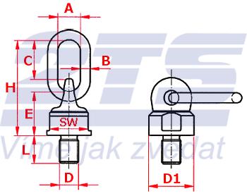 Šroubovací otočný a sklopný bod ASWH M12x25, nosnost 500 kg - 2
