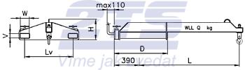 Závěsné rameno na vidlice VZV jednoduché ZR1V 1000kg - 2