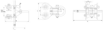 Závěsný ruční vozík B2 6t, 100-305mm - 2