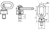 Šroubovací otočný a sklopný bod RUD VWBG M36x4,0, nosnost 8t - 2/4