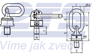 Šroubovací otočný a sklopný bod RUD VWBG M36x4,0, nosnost 8t - 2