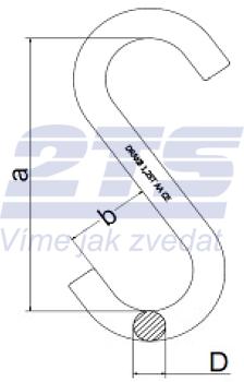S-hák otevřený krátký 1 250 kg, třída 8 - 2