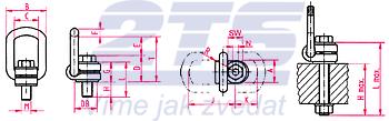 Šroubovací otočný a sklopný bod RUD VLBG M30x49, nosnost 5 t - 2