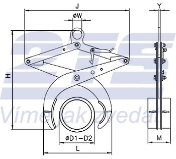 Svěrací kleště UKT 2500kg, 60-250 mm - 2
