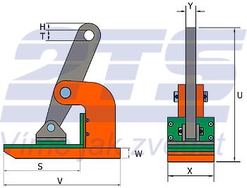 Horizontální svěrka NMHW 6 t, 0-50 mm - 2