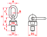 Šroubovací otočný a sklopný bod ASWH M16x30, nosnost 1 120 kg, tř.8 - 2/2