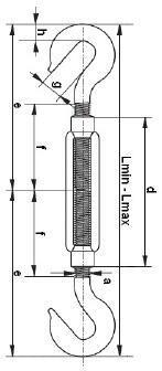 Lanový napínák DIN 1480 Zn, hák - hák, M14 - 2