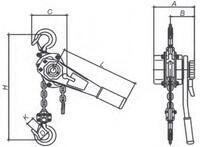 Pákový kladkostroj LRZ6000, nosnost 6000 kg, zdvih 1,5m - 2/3