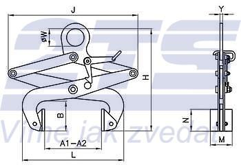 Svěrací kleště na bloky SKB 1000kg, svěrná šíře 250 - 500 mm - 2