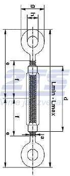 Lanový napínák DIN 1480 Zn, oko - oko, M16 - 2